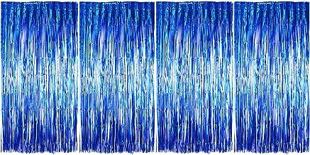BETESSIN 4pcs Cortina Brillante (1*2m) Cortina de Oropel Metálica Cortina de Borla de Fondo de Foto Para Decoración Pared Fiestas Cumpleaños Navidad Boda Color Azul