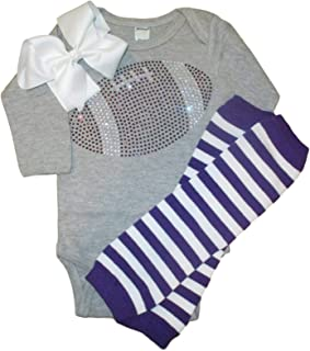 Baby Girl's Rhinestone Football Purple Team Rhinestone Outfit, Bodysuit, Leg Warmers & Bow