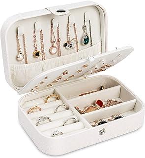 صندوق مجوهرات جودكينج مع مرآة صغيرة وقطعة قماش للمسح، منظم مجوهرات للسفر مع طبقة مزدوجة، حقيبة هدايا للنساء والبنات، حامل ...