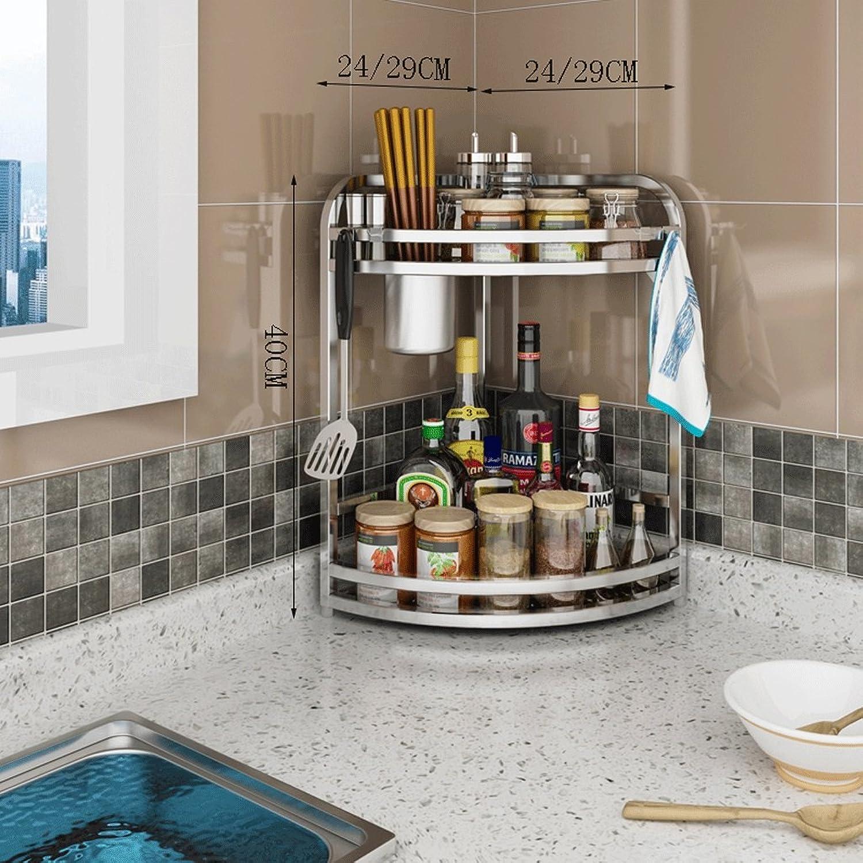 304 Stainless Steel Racks Kitchen Corner Rack Multi-Function Cruet Cutlery greenical Kitchen Utensils Triangle Storage Rack (Size   Two-Layer 40  24CM)