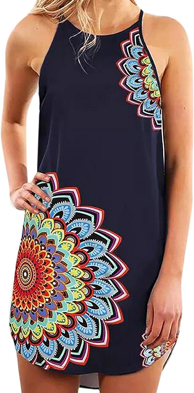 Women's Summer Halter Neck Short Floral Boho Sleeveless Dress Year-end annual account Pr Over item handling ☆