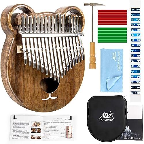AKLOT Kalimba 17 Teclas Pulgar Piano Marimbas Madera Maciza Instrumento africano Mbira Finger Piano Con bolsa protect...