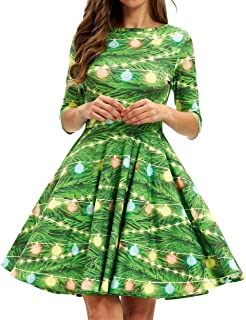 Women's 3D Print Short Sleeve Unique Casual Flared Midi Dress