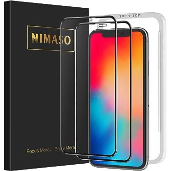 【2枚セット】Nimaso iPhone11Pro / iPhoneX/Xs ガラスフィルム 全面保護 液晶保護フィルム 強化ガラス 【フルカバー】【ガイド枠付き】(5.8インチ アイフォン 11 Pro/X/Xs用)
