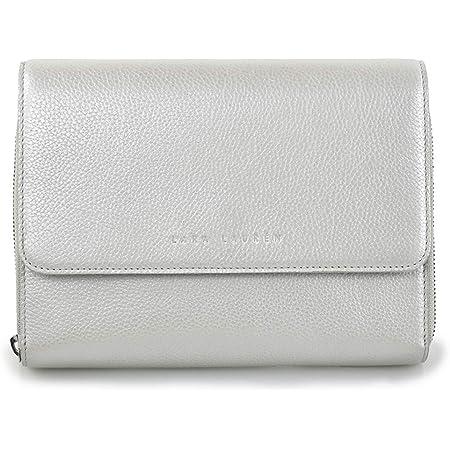 LARA LAURÈN Feline flap cb bag, Farbe silver, Damen Handtasche, Clutch mit längenverstellbarem Gurt aus hochwertigem Nappaleder, inkl. RFID Blocker, Maße 16,5x21x4cm
