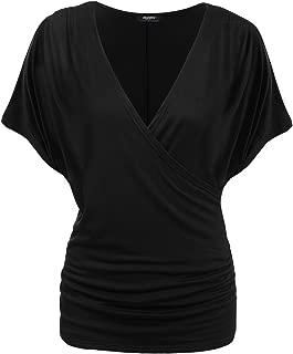 Zeagoo Women's Dolman Top Wrap Front Side Shirring Blouse Top