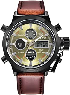 Mens Military Army Analog Watch Field Tactical Sport Wrist Watches for Men Coffee Leather Strap Watch Day Date (A)