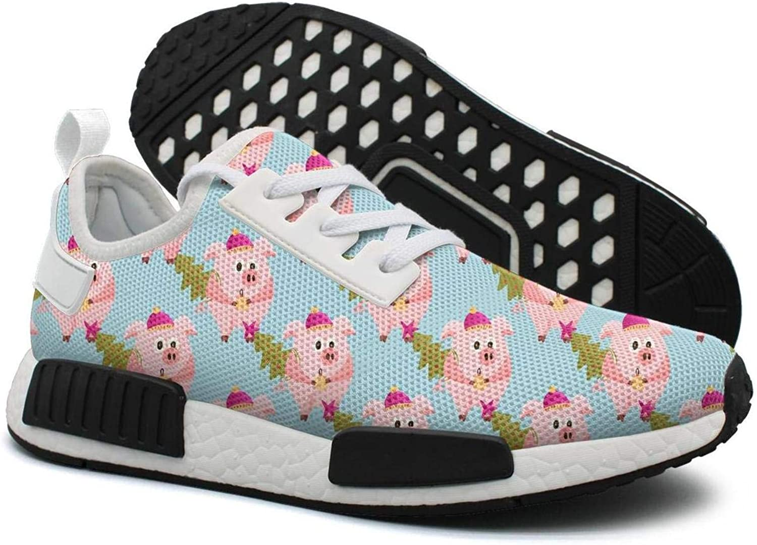 New Year 2019 Pink Pig with Christmas Tree Women's Jogger Lightweight Sneaker Gym Outdoor Sports shoes