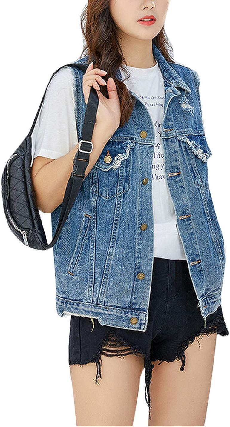 Flygo Women's Ripped Destroyed Button Down Sleeveless Denim Jeans Trucker Vest Jacket