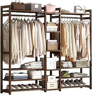 GWLGWL 3 en 1 Portant Penderie à vêtement, Portemanteau Multifonctionnel en 100% Bambou pour Accrocher de Vêtements Chapea...