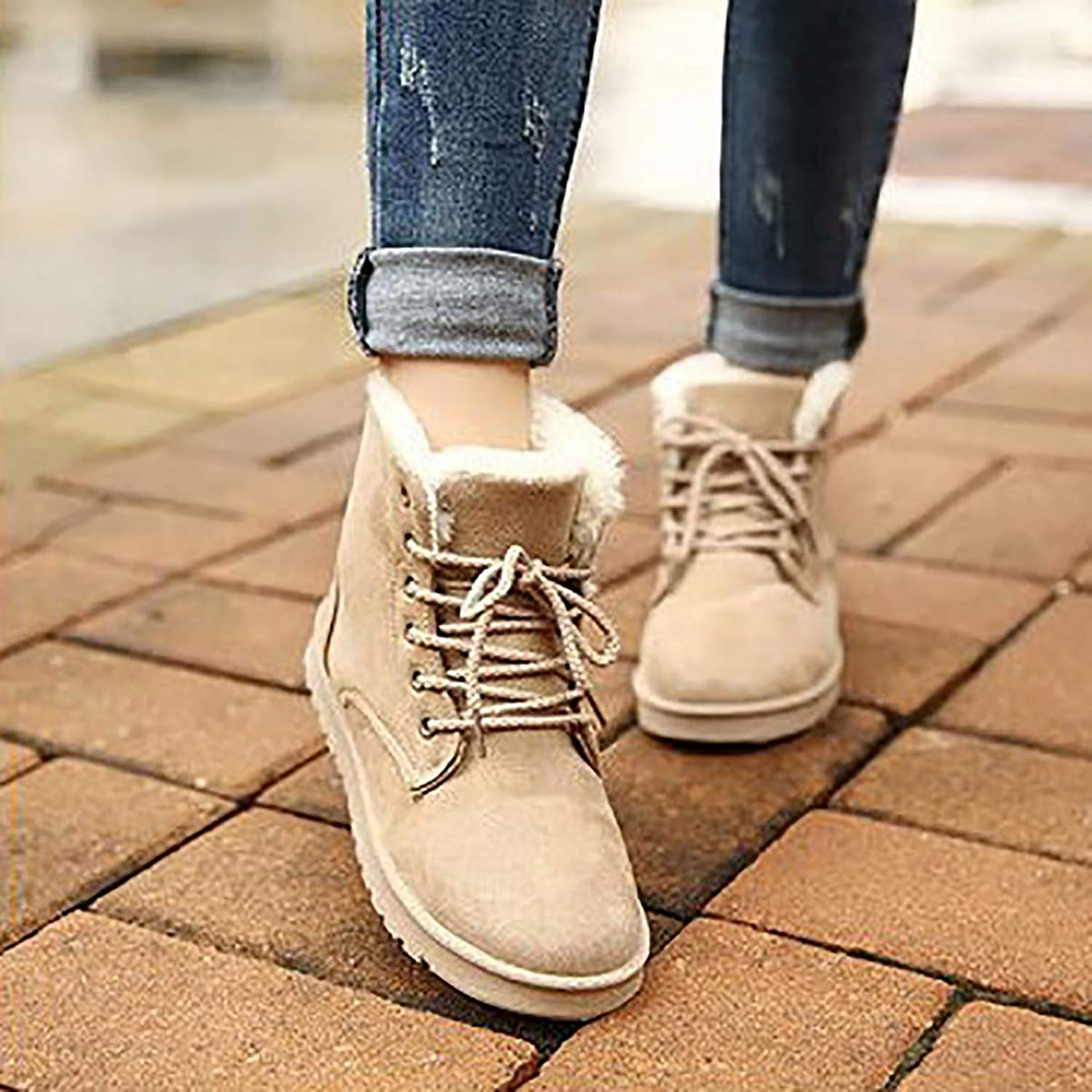 Winter Snow Boots Street Martin Boots with Lace, Large Size Cotton Women's shoes to Keep Warm,Beige,37