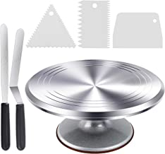 Cake Stand, Ohuhu Cake Decorating Supplies, Heavy Duty Aluminium12'' Cake Turntable with 2 Icing Spatula and 3 Comb Icing Smoother, Baking Cake Decorating kit, Rotating Display Stand