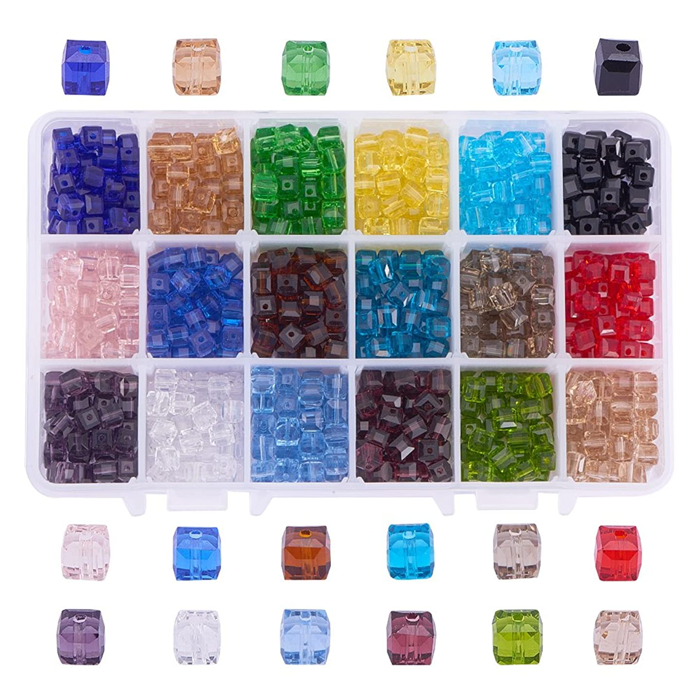 PH PandaHall 1 Box (about 900 pcs) 18 Color 6mm Crystal Beads Square Glaze Glass Bead Quartz Loose Beads for Jewelry Making Accessory