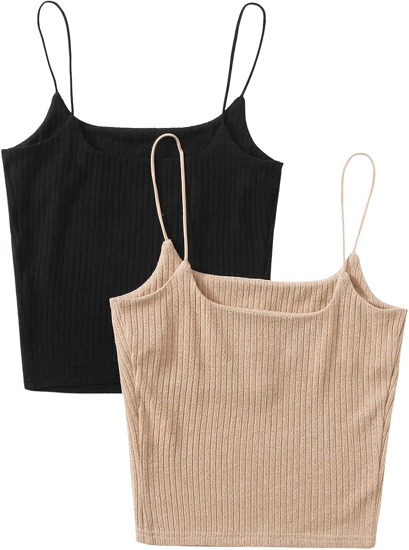 SweatyRocks Women's Basic Sleeveless Ribbed Knit Crop Cami Tank Top Pack of 2