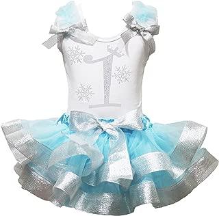 Petitebella Snowflake 1st White Cotton Shirt Blue Silver Petal Skirt Outfit 1-8y