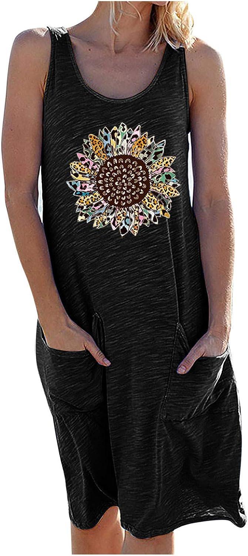 Toeava Women Summer Tank Dress Womens Sunflower Print Sleeveless Short Dress Casual Fashion Loose Flowy Swing Dresses