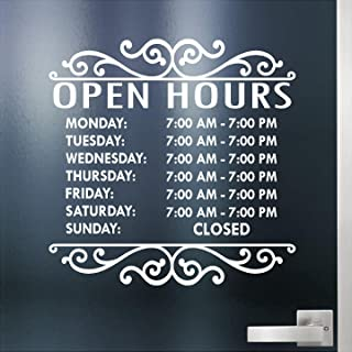 Custom Business Hours Sign for Glass Door, Windows, Smooth Surfaces. Hours of Operation Sign. Open - Closed Store Hours Sign. (14