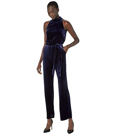 Vince Camuto Velvet High Neck Jumpsuit (Navy) Women