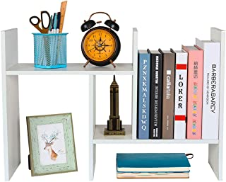 PAG Adjustable Desktop Bookshelf Countertop Bookcase Wood Desk Storage Shelf Organizer Literature Display Rack, White