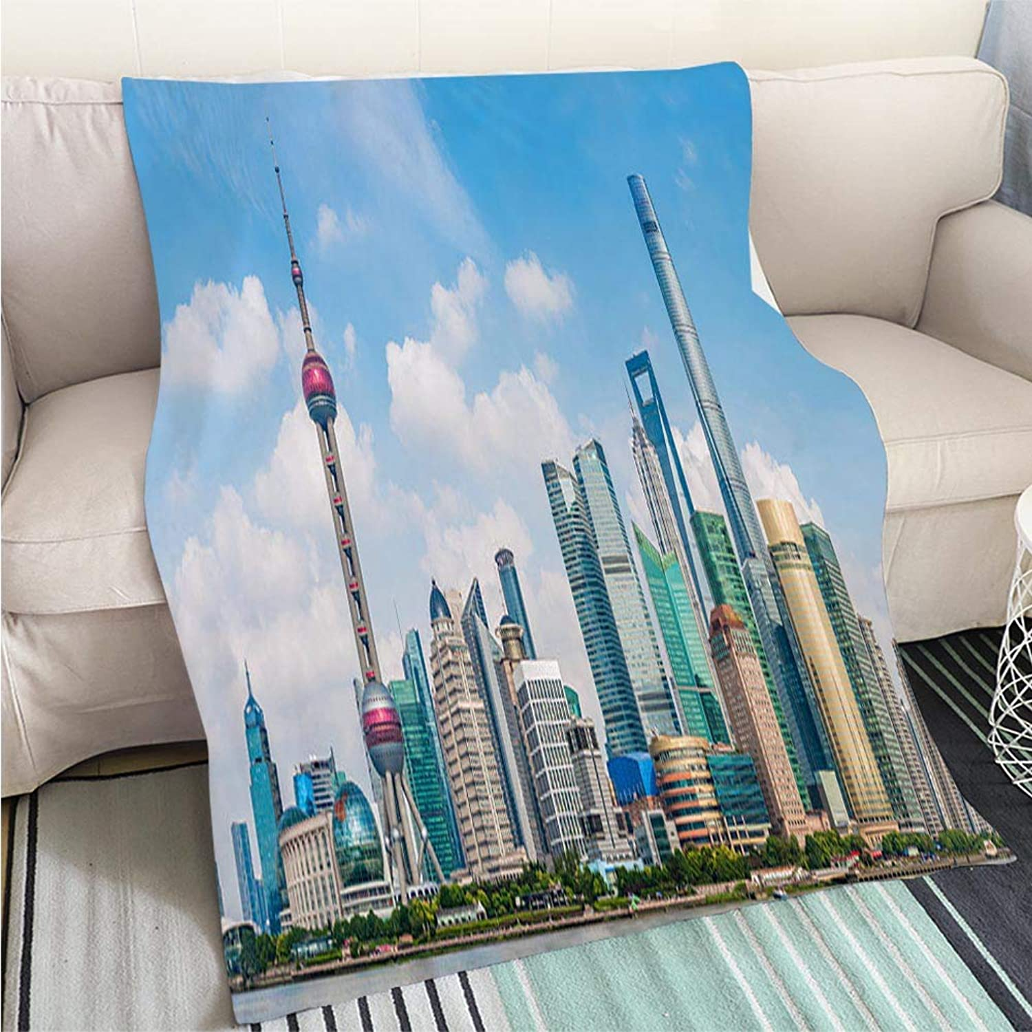 Super Soft Flannel Thicken Blanket Skyline View from Bund Waterfront on Pudong New Area Panoramic Perfect for Couch Sofa or Bed Cool Quilt