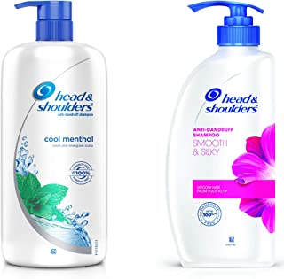 Head & Shoulders Cool Menthol Shampoo, 1L and Head & Shoulders Smooth And Silky Shampoo, 675ml