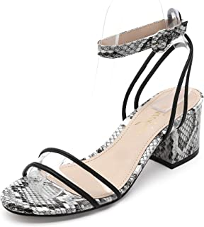 Women's Open Toe Medium Heels Block Sandals Chunky Heel Strappy Buckle Clear Snake Shoes Donald-8