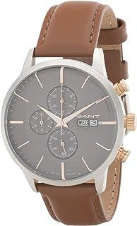 ساعة بمينا رمادي اللون وسوار من الجلد للرجال من جرانت اشفيل - G Gww063002