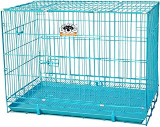 BLACK DOG Double Door Cage with Removable Tray, Durable Folding House for Pets (Blue, 30 Inch Medium, L X W X H - 76 x 48 ...