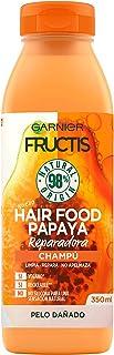 GARNIER Fructis Hair Food Champú de Papaya Reparadora para Pelo Dañado - 350 ml