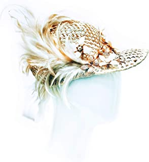 """""""Foxy"""" Cream Straw Mesh Jockey's Cap With Feather, Gold, Pearl & Butterfly Floral Embellishment"""