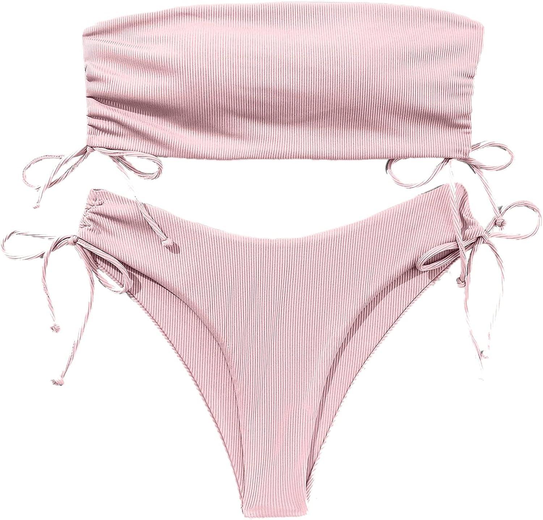 Milumia Women 2PCS Bikini Set Drawstring Side Ribbed Bandeau Top Bra and Panty Swimsuit