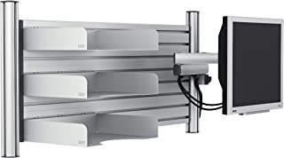 Novus Office Wall Set - TSS Folding arm II, Novus SlatWall 100 w/Wall Mount Columns, 3 Pura Line B4 Trays