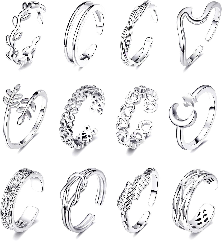 KOHOTA 12PCS Adjustable Toe Rings for Women Summer Beach Open Toe Rings Set Flower Arrow Tail Pinky Band Rings Barefoot Foot Jewelry