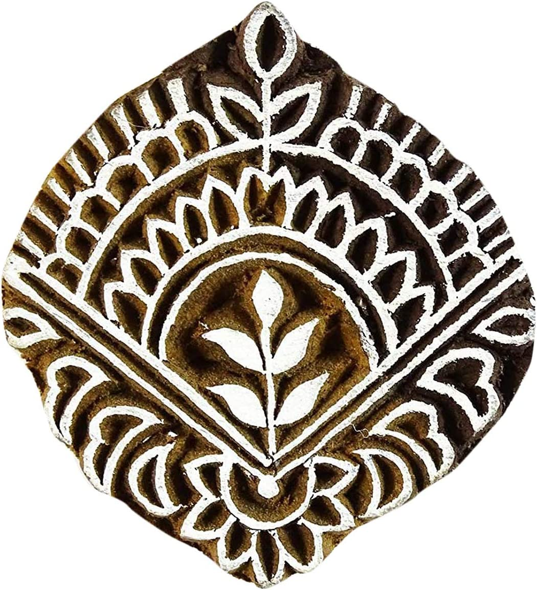 Brown Special price for a limited time Hand Carved Printing Gifts Block Floral Stamp Sta Textile Wooden