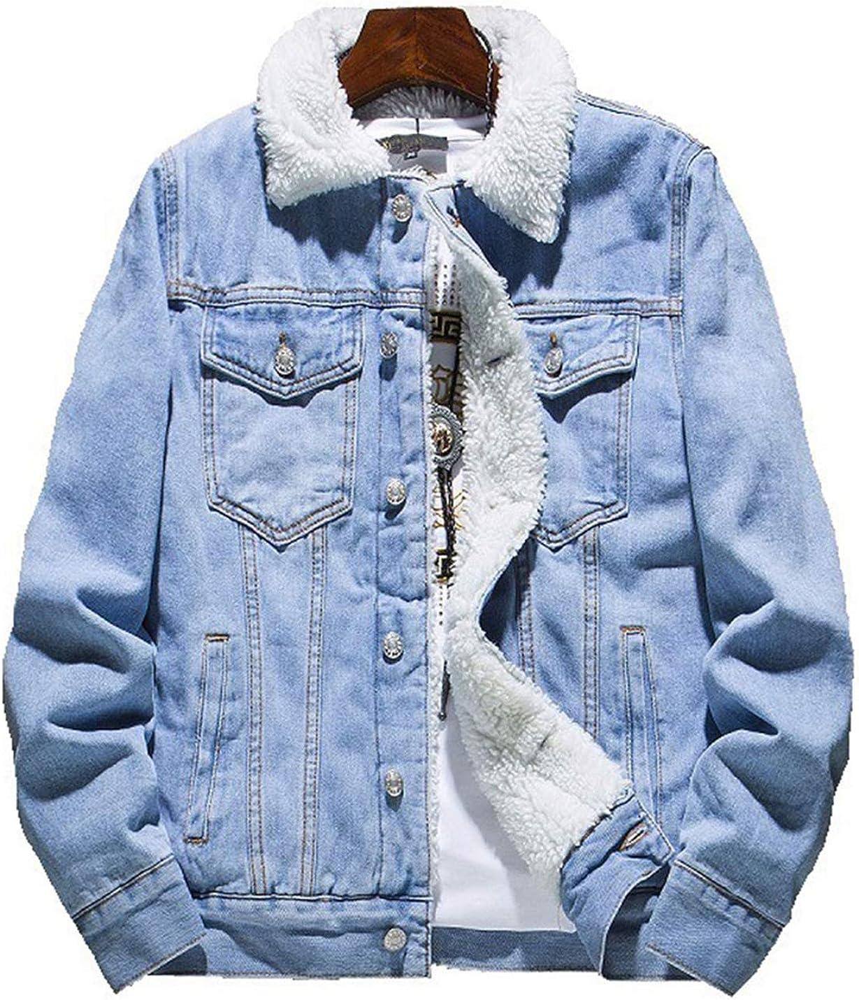 Omoone Men's Loose Fleece Lined Faux Fur Collar Denim Trucker Jacket Coat