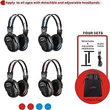 SIMOLIO 4 Pack of DVD Wireless Headphones, in Car Kids Wireless Headphones for Universal..