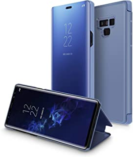 Samsung Galaxy Note 9 Mirror Protection Case Smart Clear View Standing Flip Folio Cover, Blue
