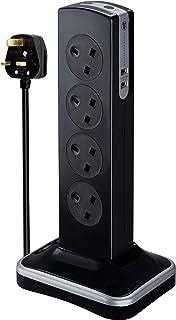 Masterplug Eight Socket Surge Protected Power Centre Extension Lead, 2 Metre, Black