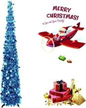 Pop Up Christmas Tree 5 Foot Collapsible Christmas Tree, Artificial Tinsel Multicolored Pencil Sequin for Holiday, Small Spaces Apartment, Party, Home, Office, Christmas Decorations, Fireplace(Blue)