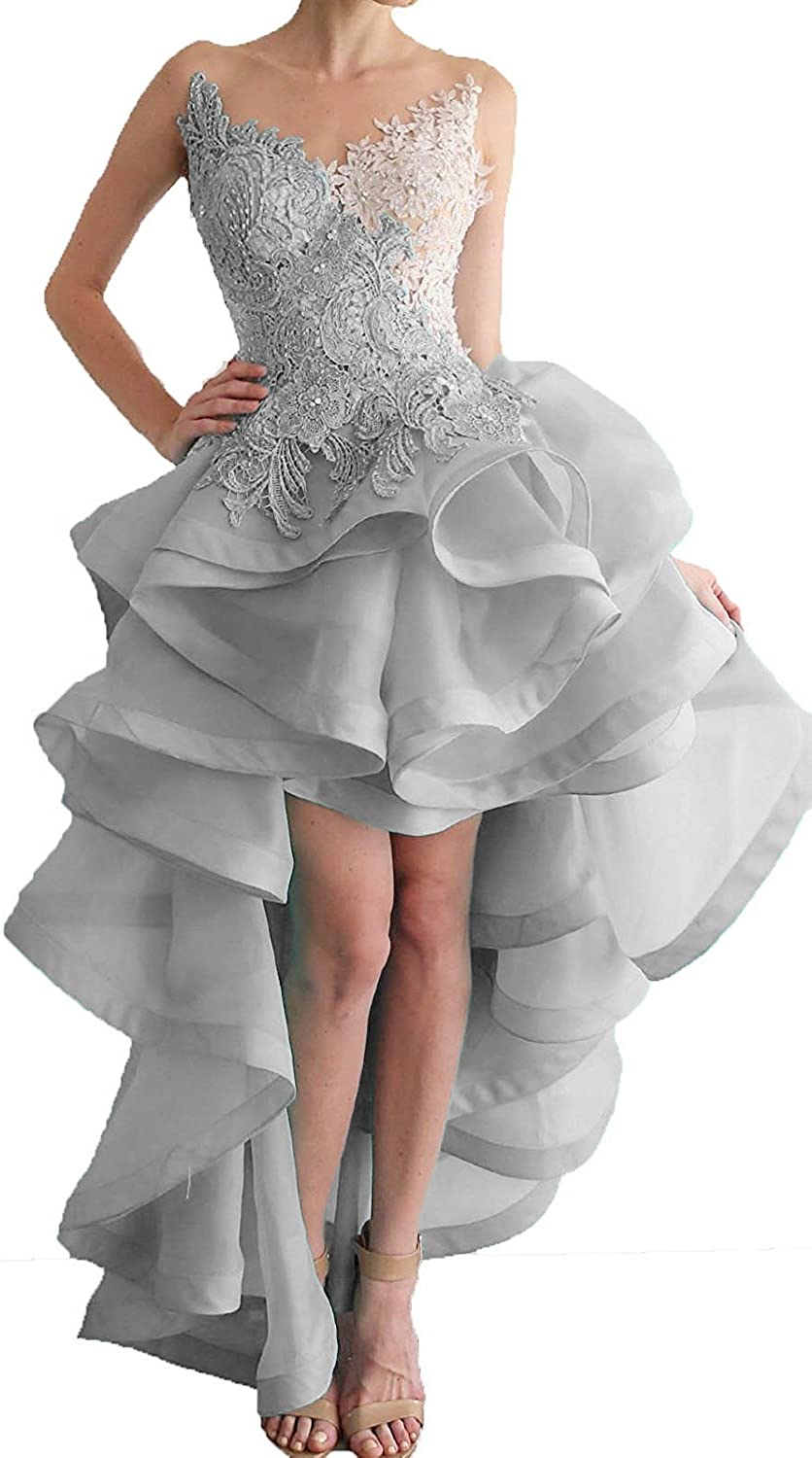 Xswpl High Beaded Low Party Prom Dresses Organza Appliques Women's NmO8nyv0w