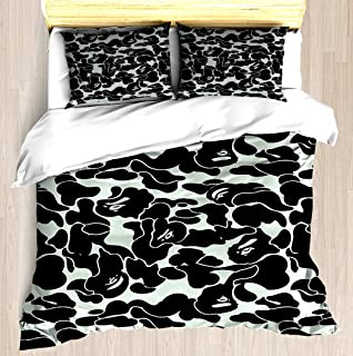 NTCBED camo Grey - Duvet Cover Set Soft Comforter Cover Pillowcase Bed Set Unique Printed Design Duvet Covers Blanket Cover Queen/Full Size