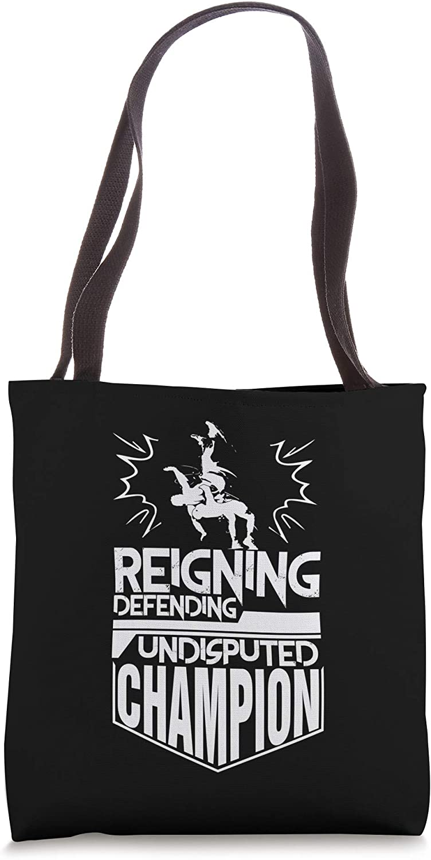 Reigning Defending Suplex Champion Men Wrestling Tote Bag