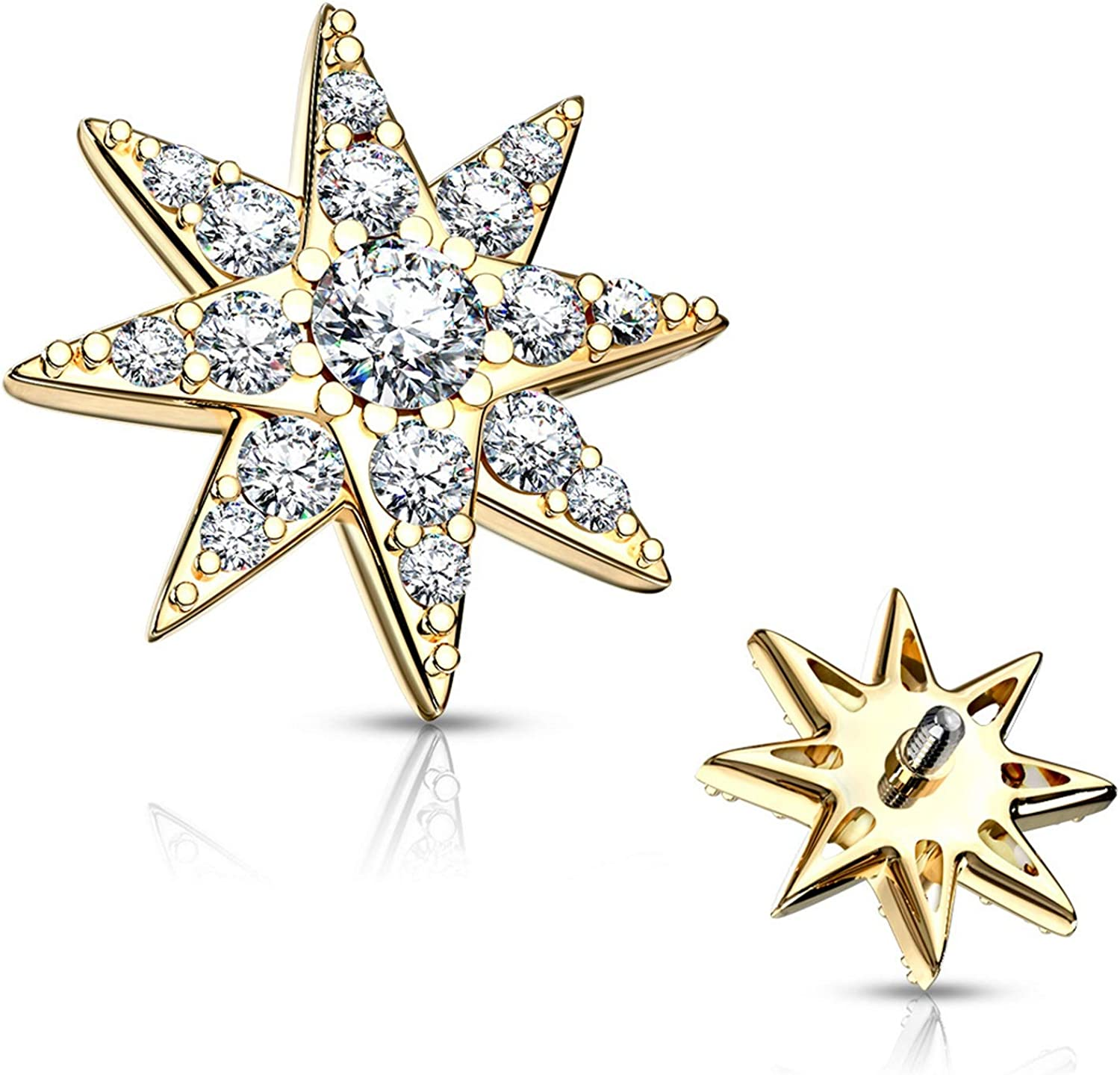 BYB Jewelry CZ Octagram 8 Pointed Star Surgical Steel Dermal Anchor Top