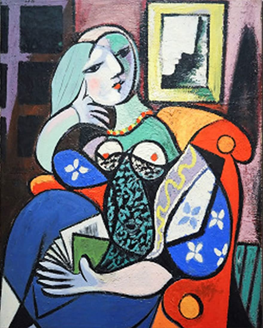 Wowdecor Paint by Numbers Kits for Adults Kids, DIY Number Painting - Woman with Book, 1932 Pablo Picasso 40x50 cm - New Stamped Canvas
