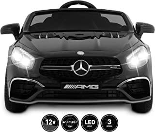Fitnessclub 12V Kids Ride On Car Toy Licensed Mercedes-Benz AMG Roadster SL65 Electric Car Remote Control Spring Suspension LED Lights Safety Lock Detachable Battery 3 Speeds USB (Black)