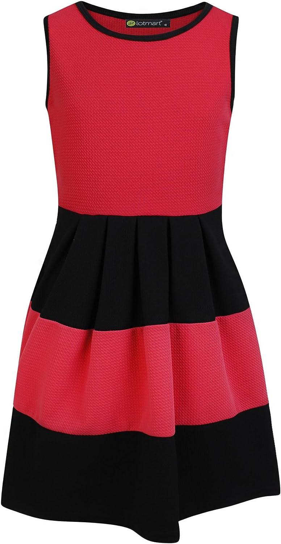 LOTMART Girls Summer Sleeveless Skater Dress Textured Casual