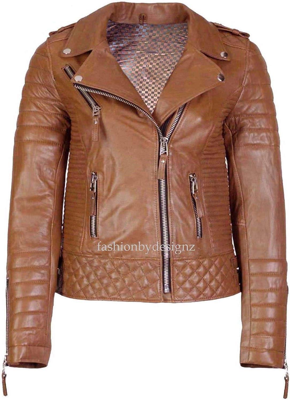 Alishbah Women's Leather Jacket Stylish Motorcycle Biker Genuine Lambskin WJ274