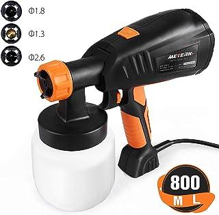Paint Sprayer, Meterk 800ml/min HVLP Electric Paint Gun with 3 Spraying Patterns 3 Nozzle..