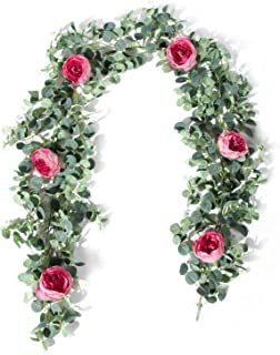 TOPHOUSE 6 Ft Artificial Rose Vine Fake Flower Garland Decorations Hanging Eucalyptus Garland with Blush Rose for Wedding Arch Arrangement