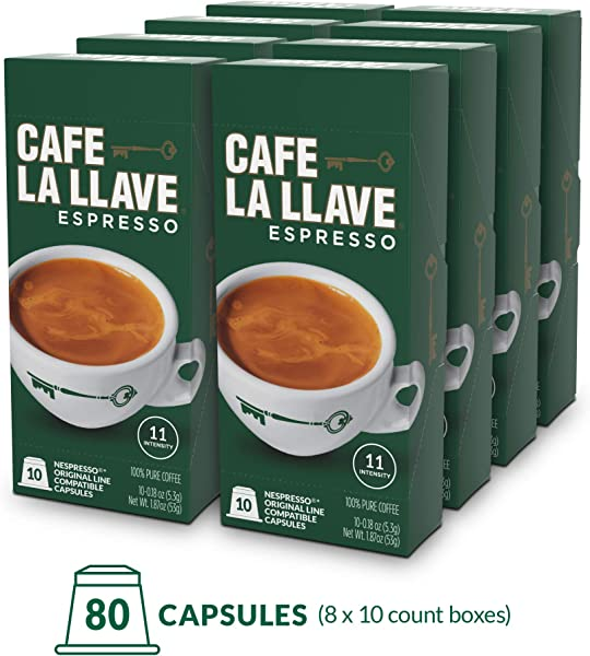 Caf La Llave Espresso Capsules Intensity 11 80 Pods Compatible With Nespresso OriginalLine Machines Single Cup Coffee